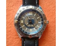 Breitling 18K GOLD 3 Time Zones Antares World Automatic Blue Dial
