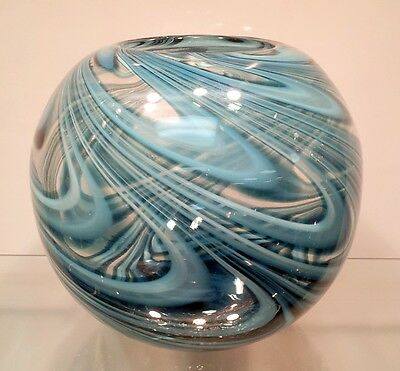 "New 7"" Hand Blown Glass Art Vase Bowl Blue Clear Italian Decorative"