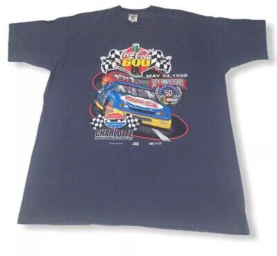 50th Anniversary NASCAR Blue T Shirt Mens Size 2XL Coca Cola 600 Charlotte