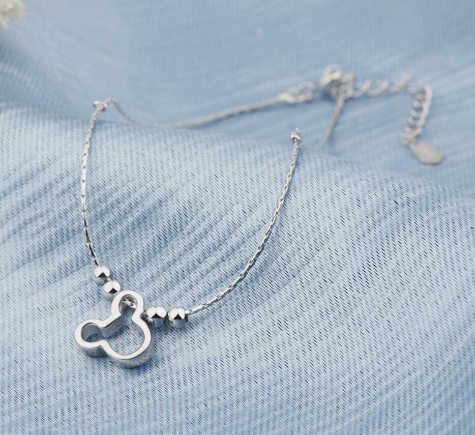 Women Silver SP Disney Mickey Mouse Ankle Bracelet Chain Anklet A09