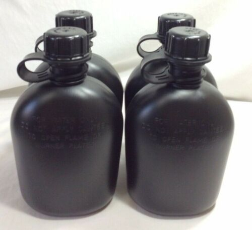 NEW, US MILITARY 1 QUART PLASTIC CANTEEN, BLACK, 4 PACK