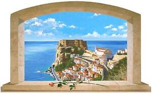 Sticker trompe l 39 oeil adesivo finestra sul mare di scilla in calabria ebay - Trompe l oeil finestra ...