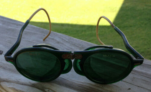 Vintage Wilson Steampunk Green Lense Foldable Welder Goggles