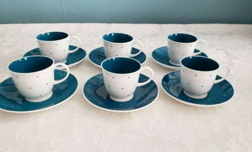 SET SUSIE COOPER ESPRESSO DEMITASSE POLKA DOT 6 CUPS 6 SAUCERS BONE CHINA ENGLAN