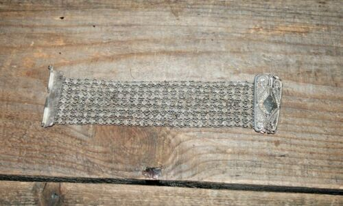 Antique Ottoman Turk Era 925 Clasp Silver Art Deco Filigree Bracelet