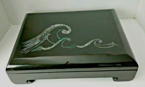 """Large Black Lacquer Inlaid Mother of Pearl Waves Dresser Trinket Jewelry Box 16"""""""