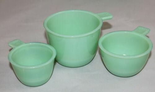 New Measuring Cups Jade Green Glass Nesting Set of 3 Jadeite Vintage Style #5