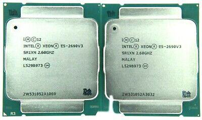 Matched Pair of Intel Xeon E5-2690V3 2.6GHz 12 Core SR1XN Processor w/Grease