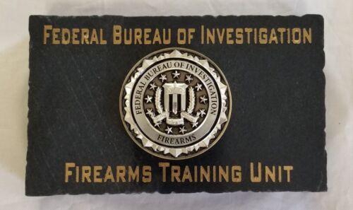 FBI FIREARMS TRAINING UNIT 3D FBI Emblem Jet Black Marble Desk Plaque