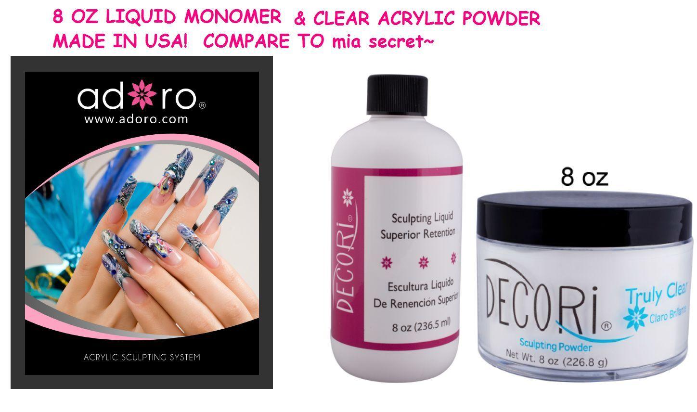 8 Oz Adoro Clear Acrylic Powder & Liquid Monomer Set Made...