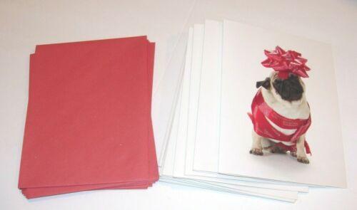 9 Christmas Cards & ENVELOPES WHITE BLACK PUG DOG RED RIBBON HAPPY HOLIDAYS 4X5