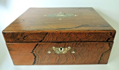 19th Century English Rosewood Sewing or Jewelry Box with Abalone and MOP Inlay