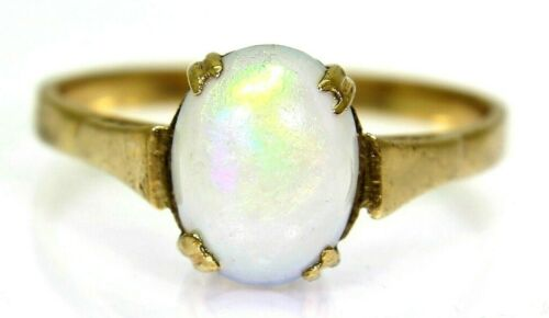 Art Deco Opal Solitaire 9ct Yellow Gold Ring size M ~ 6 1/4