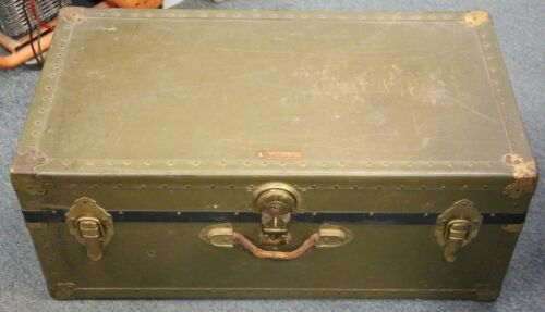 Vintage National Vulcanized Fibre Co Military Chest •Free Shipping•