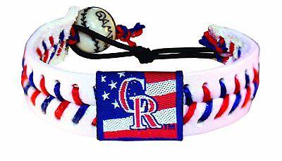 MLB Colorado Rockies Stars and Stripes Classic Baseball Bracelet (Colorado Rockies Classic Bracelets)
