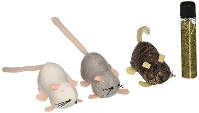 PETLINKS REFILLABLE CATNIP MOUSE 3 PACK LIL CREEPERS CAT TOY. FREE SHIP TO USA