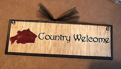 Fish Country Welcome sign country lodge cabin fishing wall decor plaque 4x12