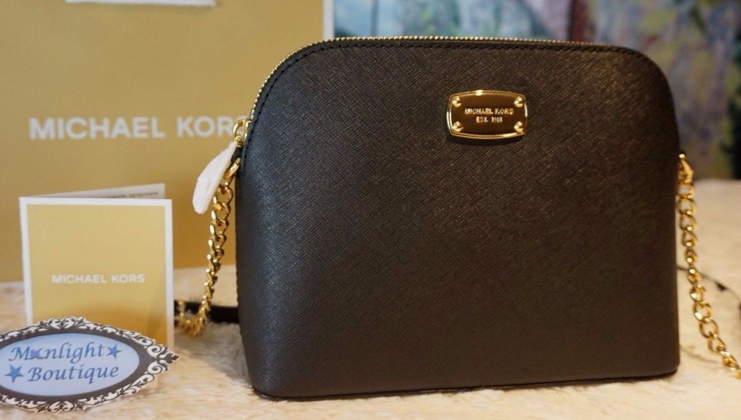 Michael Kors - NWT MICHAEL KORS CINDY LARGE Dome CROSSBODY Bag Saffiano Leather In BLACK $228