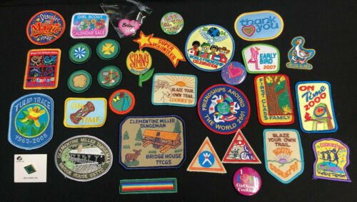 Lot of Vintage Misc Girl Scout Patches and Pins 1990s-2000s, 32 pieces