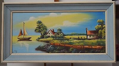 ANTIQUE PAINTING FRAME BOAT AT SEA PAINTING ON CANVAS SIGN