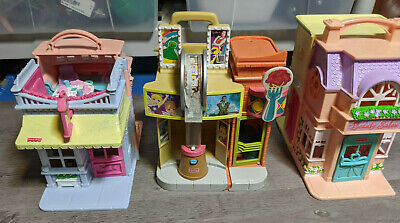 Fisher Price Sweet Streets Lot Of 3 Toys, Movie Theater, Pet Store, Candy Shop