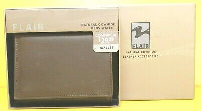 Flair Natural Cowhide Leather Men Wallet Brown Tri-Fold (New in Box)