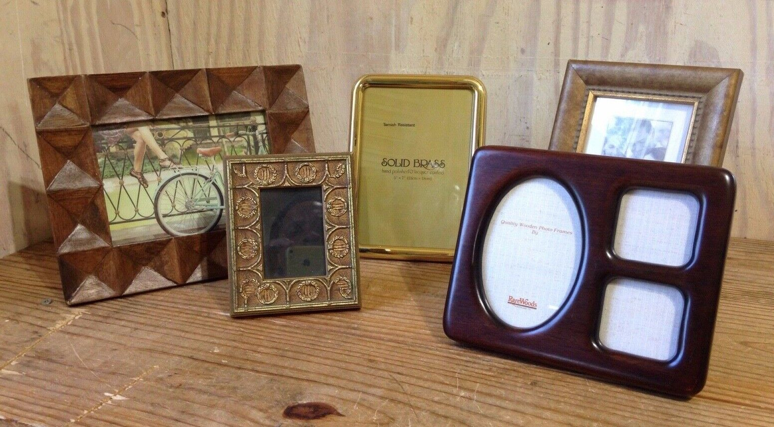 Picture Frame Lot of 5 Solid Brass Wood Heirloom Rare Woods 3 Photo Home Decor