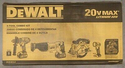 DeWalt DCK491L2 20V 20 Volt MAX Li-Ion 3.0 Ah 4-Tool Combo Kit - BRAND NEW !!!
