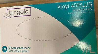 100 Vinyl Einmalhandschuhe Einweghandschuhe Gr. L EN455 374 Pflege Praxis Küche