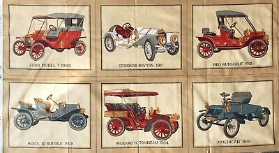Cotton Quilt Fabric Vintage Car Print Double Sided Cord L 29 And Dupont  20 X37