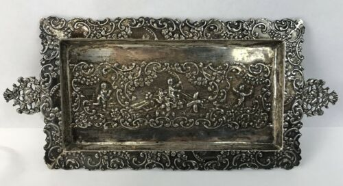 Antique Holland Hallmarked Small Ornate Sterling Silver Pin Tray Cherubs