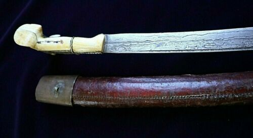 18TH CENTURY YATAGHAN TURKISH OTTOMAN FIGHTING SWORD DAMASCUS BLADE CIRCA 1780