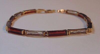 14k Solid Yellow Gold Alternating Garnet & Quartz Tennis Bracelet  69273
