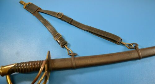 Vintage U.S. Military Henderson- Ames Leather Brass Sword Hanger Kalamazoo Mic