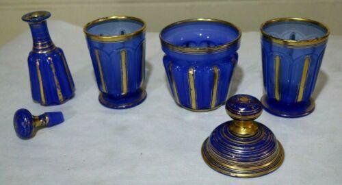 6 Piece Set of Hand Made Victorian Bohemian Moser Cobalt Blue Painted Cut Glass