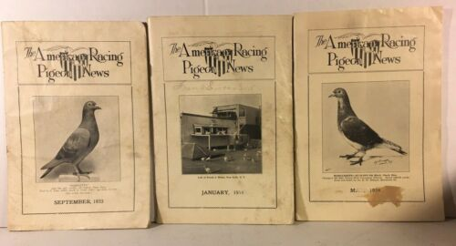 THE AMERICAN RACING PIGEON NEWS Lot of 3, Vintage Sept 1933, January & May 1934