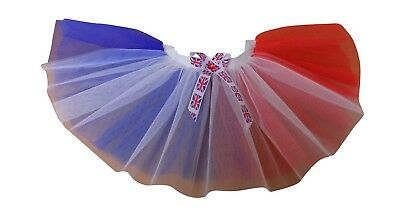 Neon Tutu St George's Day England Union Jack Red White Blue All Sizes 80s Night - All Saints Day Costumes