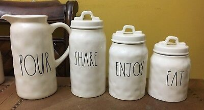 NEW Rae Dunn Magenta 3PC Canister Set - ENJOY SHARE EAT CANISTER & POUR PITCHER