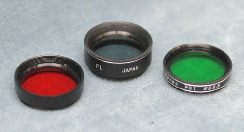"""SET OF 3 .965"""" TELESCOPE FILTERS, RED, GREEN & POLARIZER"""