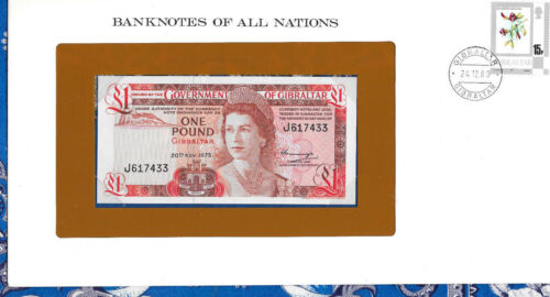 Banknotes of All Nations Gibraltar 1 pound 1975 UNC P-20a Prefix J