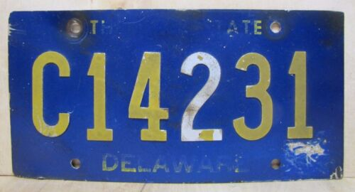 Orig DELAWARE Riveted Numbers Letter License Plate C14231 Embossed Alum Auto Trk