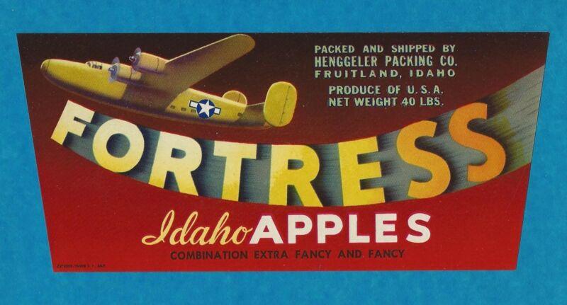 "RARE ORIGINAL 1940 WW2 B24 LIBERATOR ""FORTRESS BRAND"" LABEL ART FRUITLAND IDAHO"