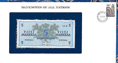 Banknotes of All Nations Finland 5 Markkaa 1963 UNC P106Aa.22 Litt. B