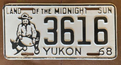 Yukon 1968 LAND OF THE MIDNIGHT SUN KLONDIKE MINER License Plate NICE # 3616