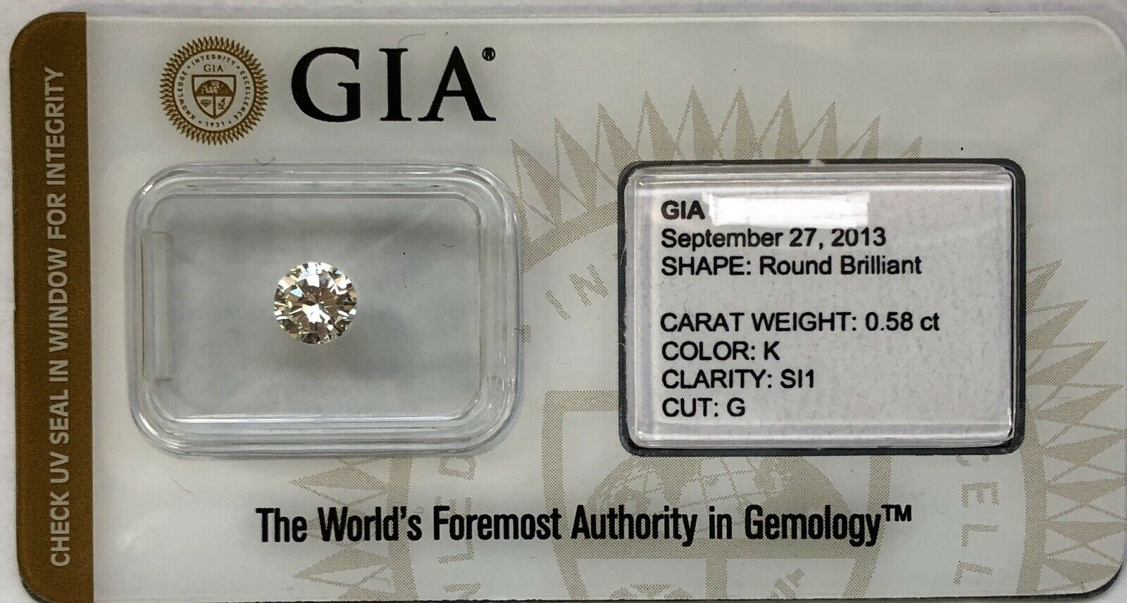 GIA Certified 0.58 Ct Round Brilliant K SI1 Good Cut Loose Natural Diamond