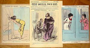 """Alfred GREVIN Petit Journal Pour Rire Lithographie XIXe Diverses Fantaisies mode - France - Commentaires du vendeur : """"En condition satisfaisante, voir le descriptif."""" - France"""