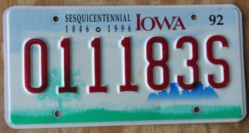 IOWA SESQUICENTENNIAL specialty license plate   1992   011183S