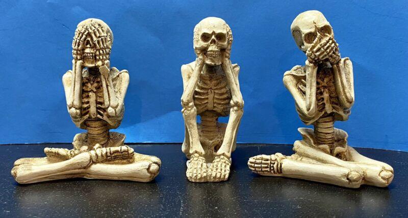 See No Evil Hear No Evil Speak No Evil Skeleton Figurines Set Of 3 *BRAND NEW*
