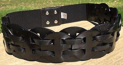 WHBM White House Black Market WIDE Leather Moto Snap Belt Braided Circles Size -