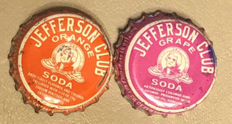 Jefferson Club Grape & Orange Soda Pepsi Cola Charlottesville, Va. Bottle Caps